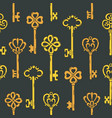 seamless pattern with beautiful vintage key vector image