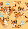 seamless pattern with cartoon tigers and balls vector image