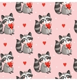 seamless with cute raccoon vector image vector image