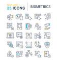 set line icons biometrics vector image