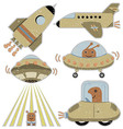Set of cute spaceships vector image vector image