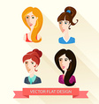 Set of flat design womens portraits vector image