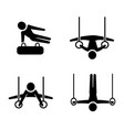 set of gymnastic icons in silhouette style vector image vector image