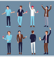 set of men icons partying vector image
