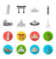 sights of different countries monochromeflat vector image vector image