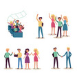 teamwork set with smiling successful people waving vector image vector image