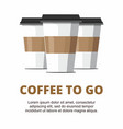 three paper cup of coffee on white background vector image vector image