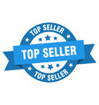top seller ribbon top seller round blue sign top vector image vector image