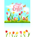 tulip bright blue easter card vector image