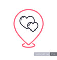two heart linear pin map icon vector image