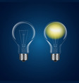 two realistic lightbulb - on and off vector image vector image
