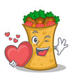 with love kebab wrap character cartoon vector image vector image