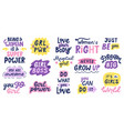 women feminist quotes female motivational slogan vector image