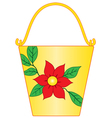 Yellow bucket with flower pattern vector image vector image