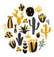 yellow circle cactus vector image