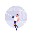 young man practicing football isolated icon vector image vector image