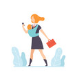 young mom in business clothes going to work with a vector image