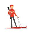 male biathlete skier character active sport vector image