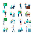 teacher people flat colored icons set vector image