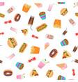 flat design fast food seamless pattern vector image