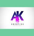 ak a k purple letter logo design with liquid