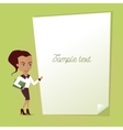 an empty signage with a businesswoman vector image vector image