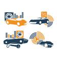 audio car system logo template set amplifier vector image