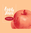 banner for apple juice with apple and inscription vector image vector image