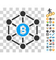 bitcoin finance netwok icon with bonus vector image