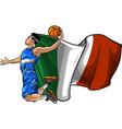 cartoon basketball player with italian flag vector image