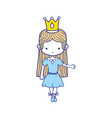 colorful girl dancing with crown and straight hair vector image