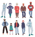 coronavirus epidemic clothes characters wearing vector image