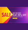 creative sale banner in purple and yellow color vector image vector image