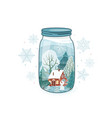 cute winter close lid glass vector image vector image