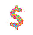 dollar color dot on the white background vector image