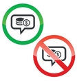 Dollar rouleau message permission signs vector image vector image