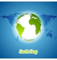 Earth Day background with green globe and map vector image