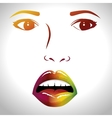face lips woman pop art d vector image