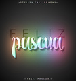 Feliz pascua 3D Greeting inscription Happy Easter vector image vector image