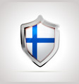 finland flag projected as a glossy shield on a vector image vector image