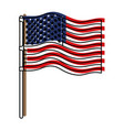 flag united states of america in flagpole wave and vector image vector image