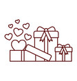gift boxes with hearts isolated icon vector image vector image