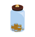 glass bottle to save coins cash money vector image