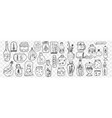 glass toys and snow balls doodle set vector image vector image
