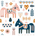 hand drawn seamless folk art pattern nordic vector image vector image
