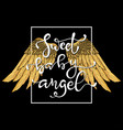 hand drawn wings and lettering text vector image vector image
