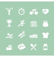 Health and Fitness white icons set icons vector image vector image