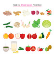 healthy food for breast cancer prevention set vector image vector image