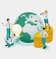 isometric concept investor holds money in ideas vector image vector image