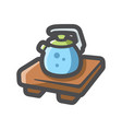 kettle on a wooden stand icon cartoon vector image